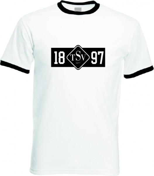 Ringer T-Shirt weiß/schwarz Unisex inkl. Druck